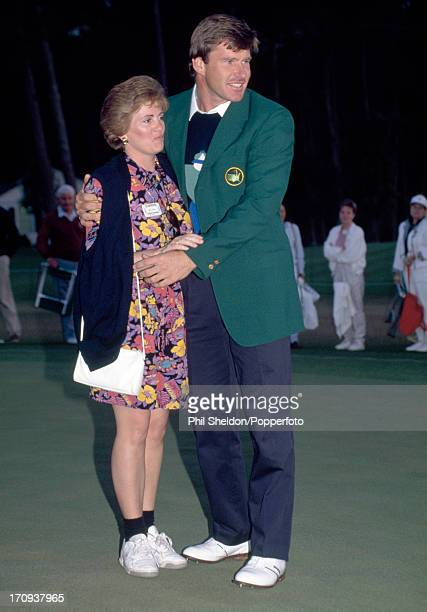 Nick Faldo of Great Britain in his Green Jacket with his wife Gill after winning the US Masters Golf Tournament held at the Augusta National Golf...