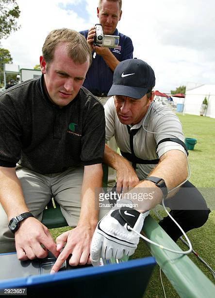 Nick Faldo of Great Britain is wired for biomechanical evaluation on the practce fairway prior to the Heineken Classic February 3 2004 at the Royal...