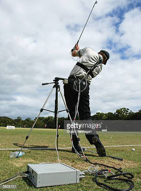 Nick Faldo of Great Britain is wired for biomechanical evaluation on the practce fairway prior to the Heineken Classic at Royal Melbourne Golf Club...