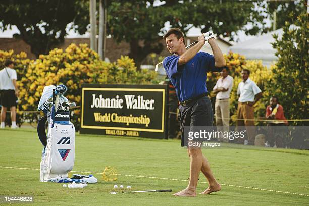 Nick Faldo of Great Britain taking practice drives before the Johnnie Walker World Golf Championship on 19th December 1993 at the Tryall Golf Club in...