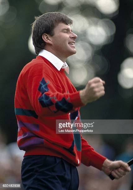 Nick Faldo of Great Britain wins the Suntory World Match Play Championship on the last hole at Wentworth Golf Club on 15th October 1989