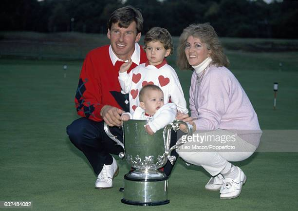 Nick Faldo of Great Britain with his wife Gill and children Natalie and Matthew after winning the Suntory World Match Play Championship at Wentworth...