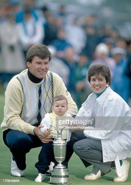 Nick Faldo of Great Britain with his wife Gill and daughter Natalie after winning the British Open Golf Tournament held at the Muirfield Golf Links...