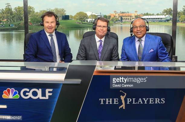 Nick Faldo, Paul Azinger and Mike Tirico announce play for Golf Channel during the second round of the 2019 Players Championship held on the Stadium...