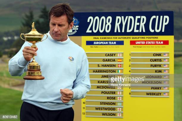 Nick Faldo pictured with the Ryder Cup and the names of his team for the 2008 Ryder Cup The Johnnie Walker Championship at Gleneagles on August 31...