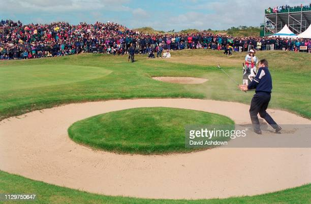 Nick Faldo Plays from a bunker by the 7th green during the 127th British Open Golf at Royal Birkdale GC in Southport 16th-19th July 1998.