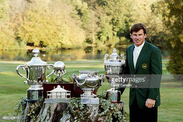 Nick Faldo poses with his Green Jacket and trophies he won in 1989 which included the Volvo PGA Championship, The French Open, and the Toyota World...