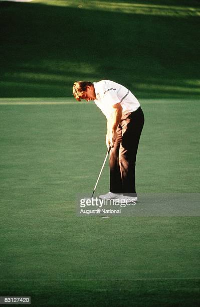 Nick Faldo Putts During The Final Round Of The 1990 Masters Tournament