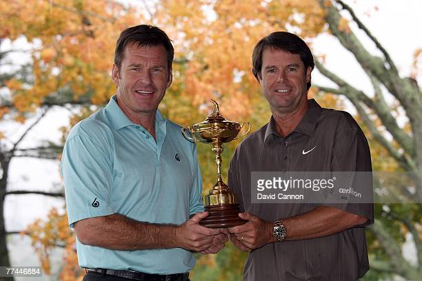Nick Faldo the European Captain with Paul Azinger the USA captain during the photoshoot as a preview for the 2008 Ryder Cup at Valhalla Golf Club on...