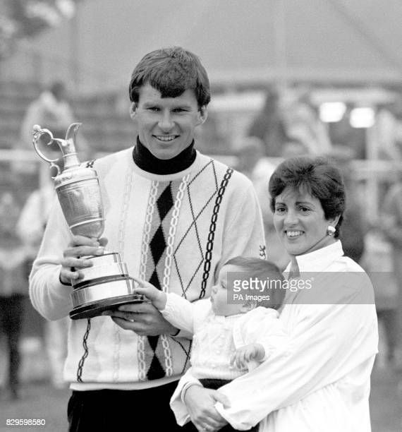 Nick Faldo with his wife Gill and baby Natalie celebrate with the trophy after his victory
