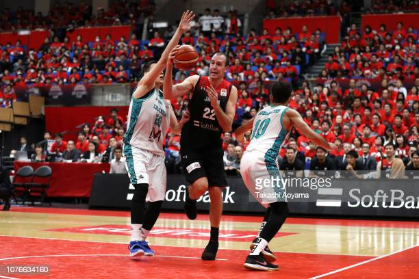 Nick Fazekas of Japan drives to the basket during the FIBA World Cup Asian Qualifier Group F match between Japan and Kazakhstan at Toyama City...