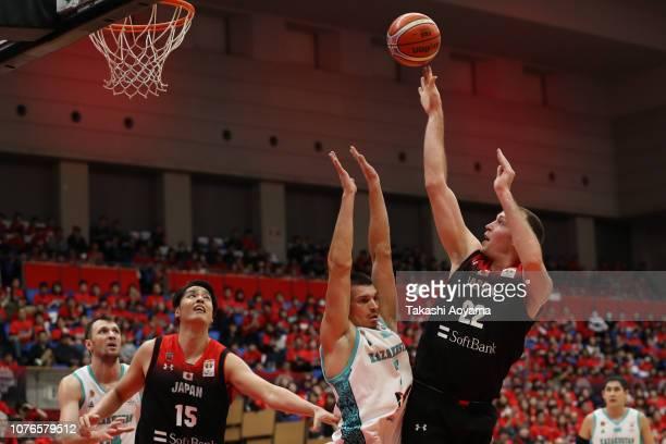 Nick Fazekas of Japan shoots during the FIBA World Cup Asian Qualifier Group F match between Japan and Kazakhstan at Toyama City Gymnasium on...