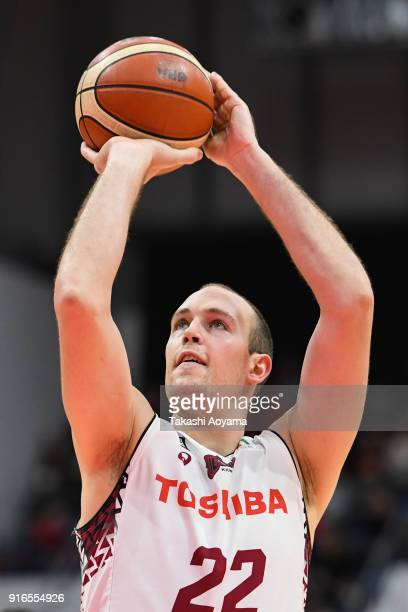 Nick Fazekas of the Kawasaki Brave Thunders shoots a free throw during the BLeague match between Alverk Tokyo and Kawasaki Brave Thunders at the...