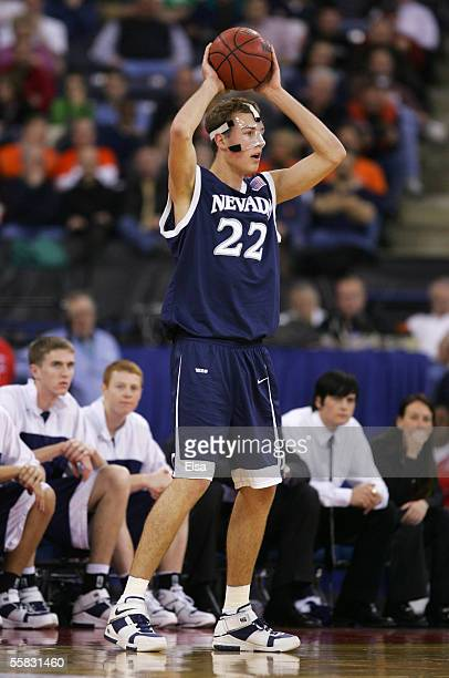 Nick Fazekas of the Nevada Wolf Pack looks to pass against the Texas Longhorns in the first round of the NCAA Division I Men's Basketball Tournament...