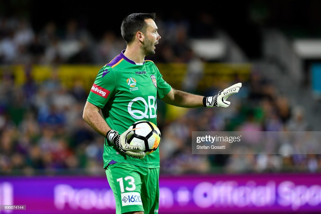 Nick Feely of the Glory looks on during the round 22 A-League match between the Perth Glory and the Central Coast Mariners at nib Stadium on March 10, 2018 in Perth, Australia.
