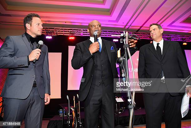 Nick Ferrara Warren Moon and Wyman Marshall speak onstage during the 141st Kentucky Derby Unbridled Eve Gala at Galt House Hotel Suites on May 1 2015...
