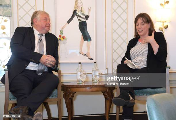 Nick Ferrari and Jess Phillips speak onstage at Turn The Tables 2020 hosted by Tania Bryer and James Landale in aid of Cancer Research UK at Fortnum...