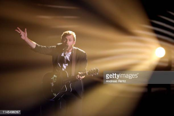 Nick Ferretti performs during the season 16 finals of the tv competition show Deutschland sucht den Superstar at Coloneum on April 27 2019 in Cologne...