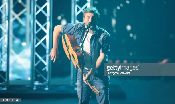 Nick Ferretti performs during the second event show of the tv competition Deutschland sucht den Superstar at Coloneum on April 13 2019 in Cologne...