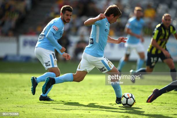 Nick Fitzgerald of City in action during the round 16 ALeague match between the Central Coast Mariners and Melbourne City at Central Coast Stadium on...
