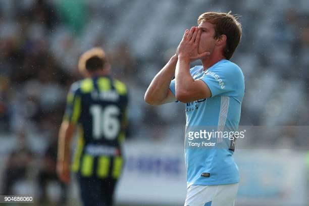 Nick Fitzgerald of City reacts to a missed shot at goal during the round 16 ALeague match between the Central Coast Mariners and Melbourne City at...