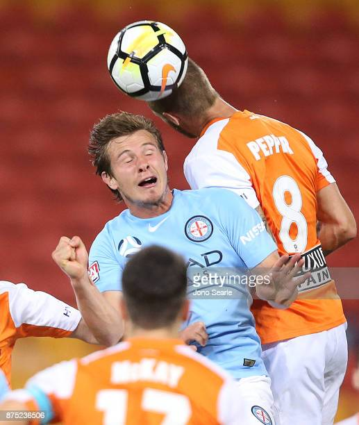 Nick Fitzgerald of Melbourne City heads the ball during the round seven ALeague match between Brisbane Roar and Melbourne City at Suncorp Stadium on...