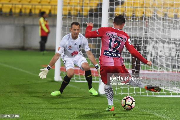 Nick Fitzgerald of Melbourne City shoots for goal while Glen Moss goal keeper for the Wellington Phoenix defends during the round 20 ALeague match...
