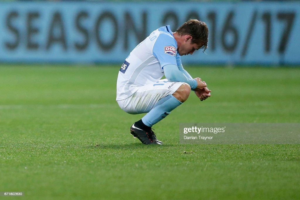 Nick Fitzgerald of Melbourne City slumps to the ground after his teams season ending loss in the A-League Elimination Final match between Melbourne City FC and the Perth Glory at AAMI Park on April 23, 2017 in Melbourne, Australia.