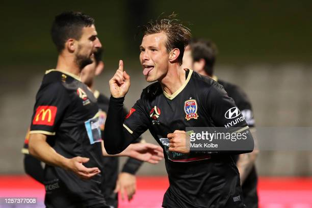 Nick Fitzgerald of the Jets celebrates scoring a goal during the round 28 A-League match between Sydney FC and Newcastle Jets at Netstrata Jubilee...
