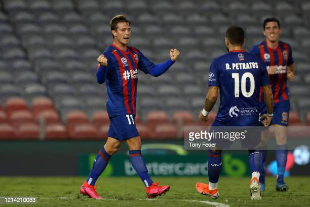Nick Fitzgerald of the Newcastle Jets celebrates a goal during the round 26 A-League match between the Newcastle Jets and Melbourne City at McDonald...