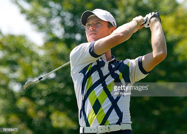 Nick Flanagan drives during the third round of the Xerox Classic held at Irondequoit Country Club in Rochester New York on August 18 2007