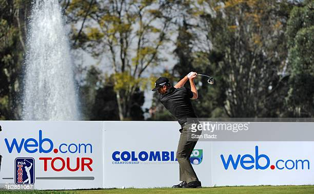Nick Flanagan hits a drive on the 17th hole during the first round of the Colombia Championship at Country Club de Bogotá on February 28 2013 in...