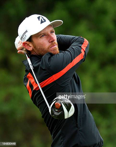 Nick Flanagan hits a drive on the fifth hole during the second round of the Webcom Tour Championship at TPC Craig Ranch on October 26 2012 in...