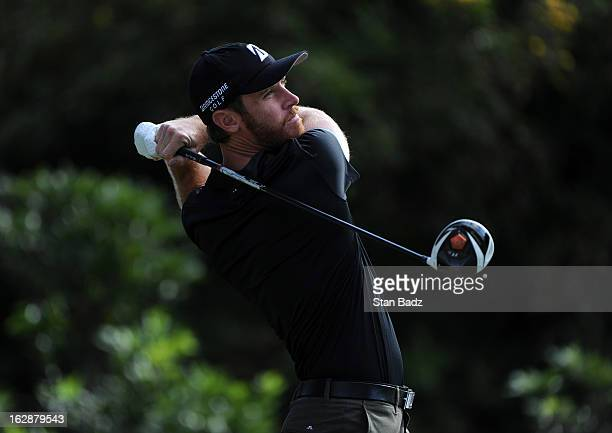Nick Flanagan of Australia hits a drive on the 18th hole during the first round of the Colombia Championship at Country Club de Bogota on February 28...