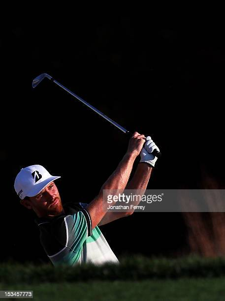 Nick Flanagan of Australia hits his second shot on the 18th hole during the second round of the Webcom Tour Neediest Kids Championship on October 5...