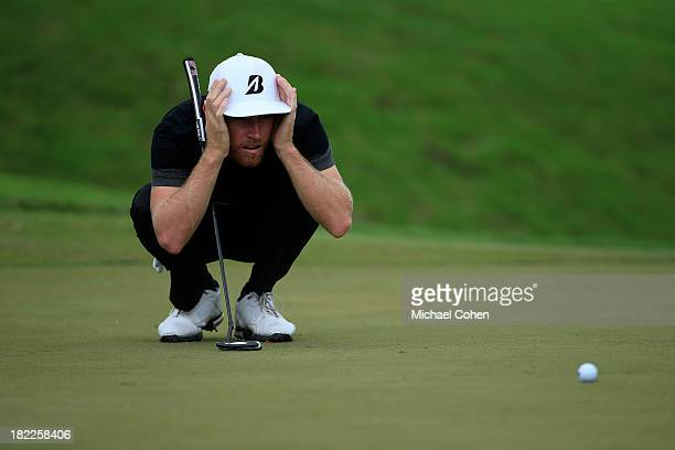 Nick Flanagan of Australia lines up a birdie putt on the third green during the third round of the Webcom Tour Championship held on the Dye's Valley...