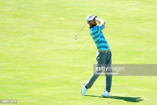 Nick Flanagan of Australia plays his shot on the seventh hole during the first round of the 2017 US Open at Erin Hills on June 15 2017 in Hartford...