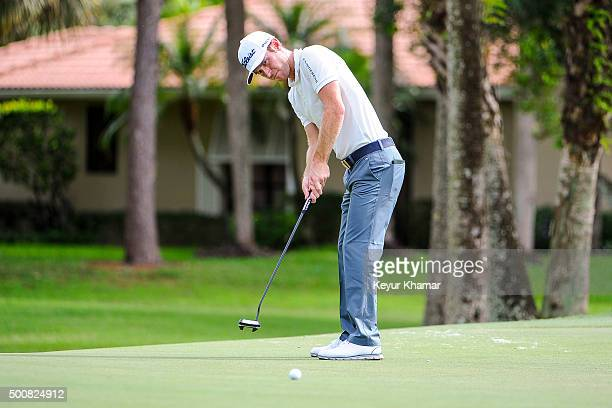 Nick Flanagan of Australia reads putts on the ninth hole green on the Fazio Course during the first round of Webcom Tour QSchool at PGA National...