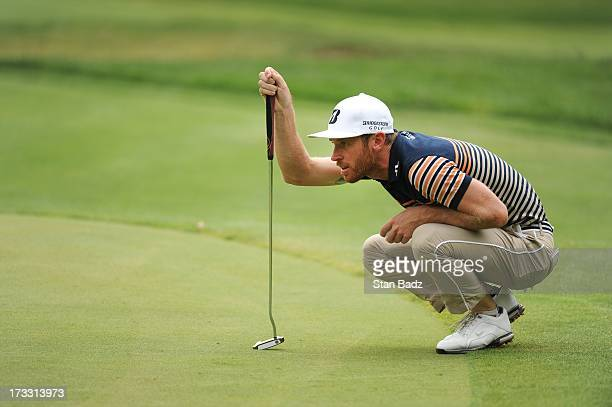 Nick Flanagan of Australia studies his putt on the 16th hole during the first round of the Utah Championship Presented by Utah Sports Commission at...