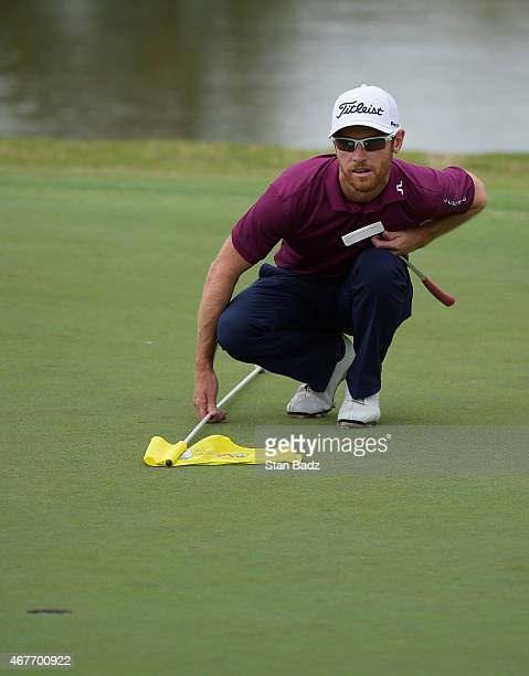 Nick Flanagan of Australia studies his putt on the eighth hole during the first round of the Webcom Tour Chitimacha Louisiana Open presented by...