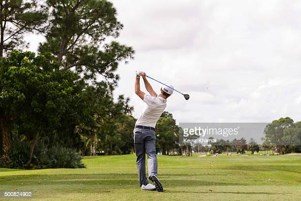 Nick Flanagan of Australia tees off on the ninth hole on the Fazio Course during the first round of Webcom Tour QSchool at PGA National Resort Spa on...