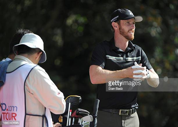 Nick Flanagan plays the 18th hole during the first round of the Colombia Championship at Country Club de Bogota on February 28 2013 in Bogota Colombia