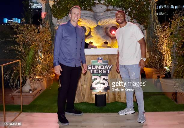 Nick Foles and Dak Prescott attend DIRECTV CELEBRATES 25th Season of NFL SUNDAY TICKET at Nomad Hotel Los Angeles on July 17 2018 in Los Angeles...