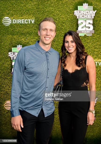 Nick Foles and Tori Moore attend DIRECTV CELEBRATES 25th Season of NFL SUNDAY TICKET at Nomad Hotel Los Angeles on July 17 2018 in Los Angeles...