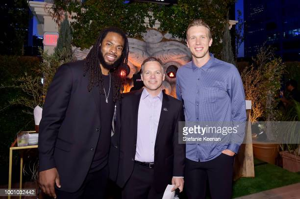 Nick Foles Jamie Dyckes and Richard Sherman attend DIRECTV CELEBRATES 25th Season of NFL SUNDAY TICKET at Nomad Hotel Los Angeles on July 17 2018 in...