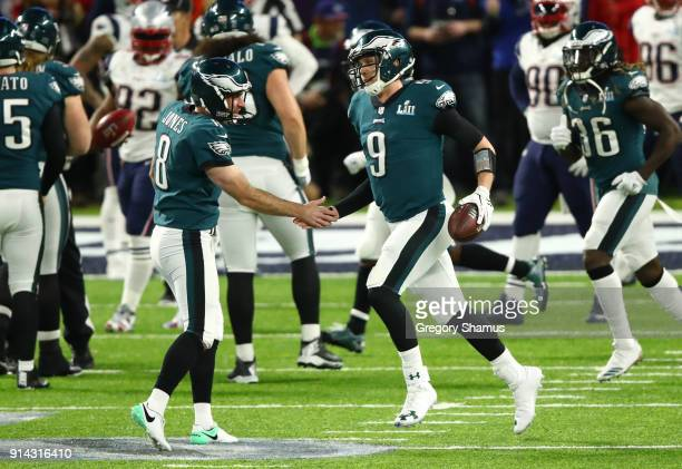 Nick Foles of celebrates with Donnie Jones of the Philadelphia Eagles after Foles caught a 1 yard touchdown pass against the New England Patriots...