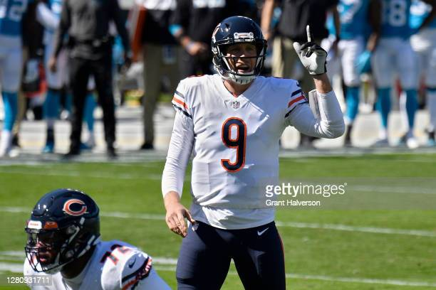 Nick Foles of the Chicago Bears calls out instructions in the first quarter against the Carolina Panthers at Bank of America Stadium on October 18,...