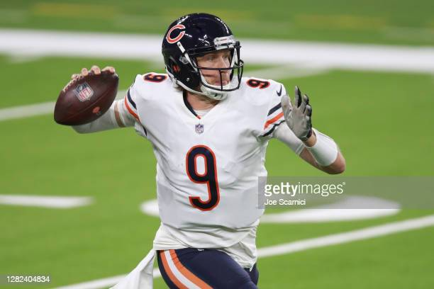 Nick Foles of the Chicago Bears makes a pass in the second quarter against the Los Angeles Rams at SoFi Stadium on October 26, 2020 in Inglewood,...