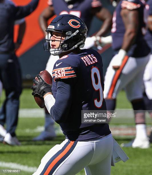 Nick Foles of the Chicago Bears participates in warm-ups before a game against the New York Giants at Soldier Field on September 20, 2020 in Chicago,...