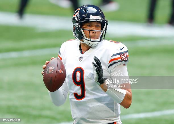 Nick Foles of the Chicago Bears passes during the second half of an NFL game against the Atlanta Falcons at Mercedes-Benz Stadium on September 27,...